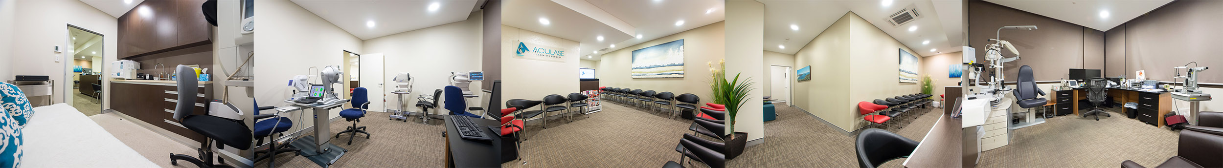 Aculase Clinic - showing waiting area, consultation room and assessment rooms