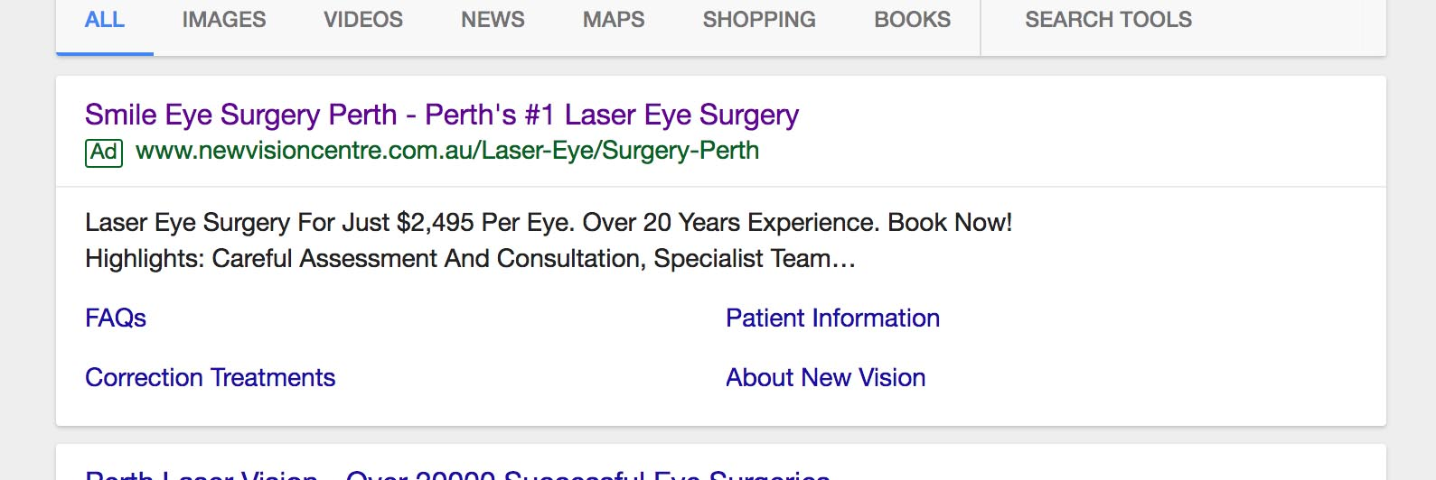 New Vision Clinic False advertising on SMILE